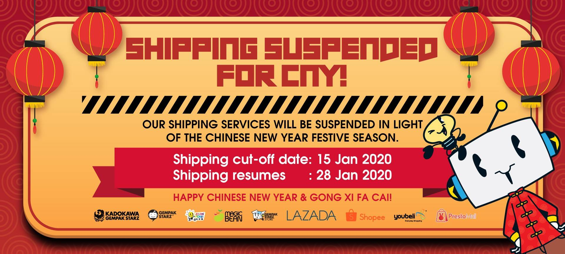 Shipping Suspended for CNY 2020