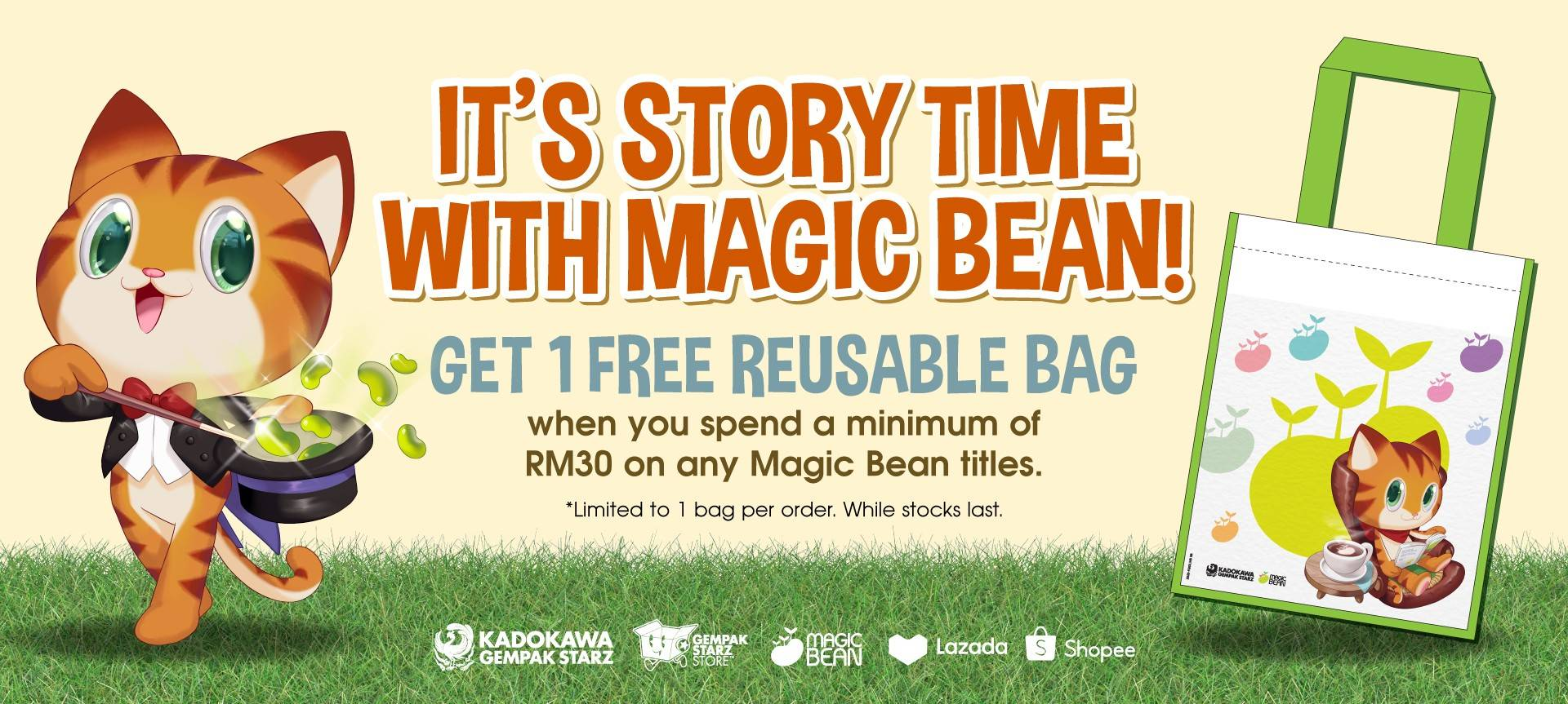 Free Reusable Bag with min RM30  MagicBean Purchase