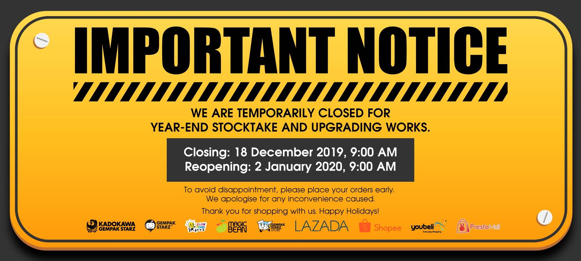 Year-End Store Closure 2019